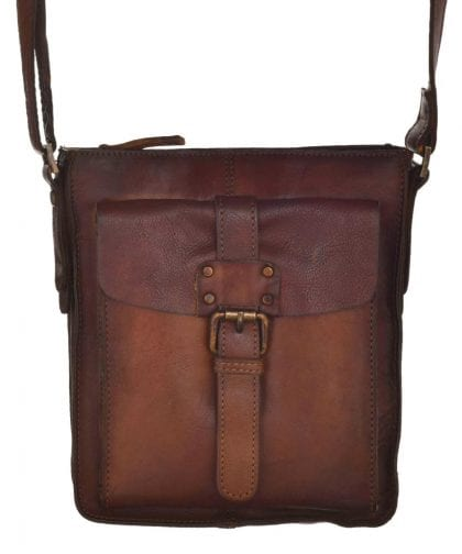 Small Genuine Vintage Leather Cross Body Bag - Hanging