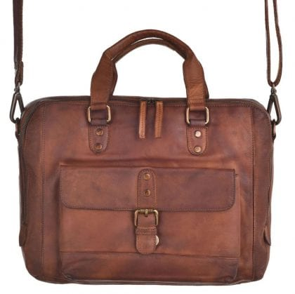 Laptop Compatible Genuine Vintage Leather Messenger Bag-197228