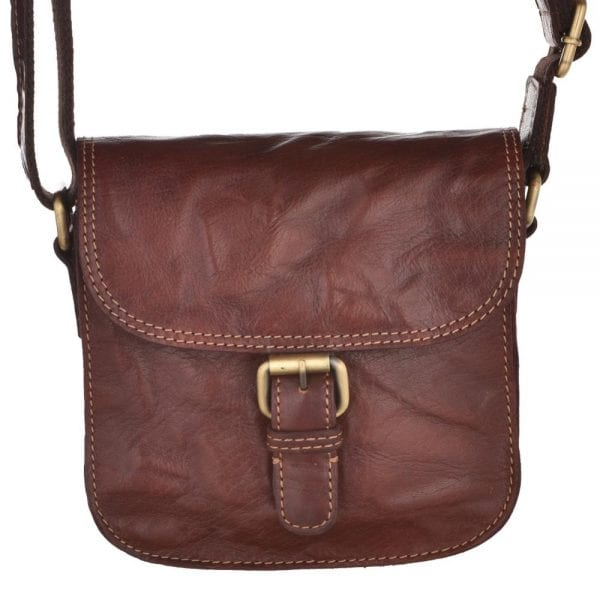 Ladies Small Vintage Leather Hunter Style Handbag by Rowallan in Cognac - Front