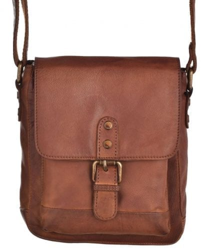 Small Vintage Leather Flap Over Cross Body Bag - Hanging