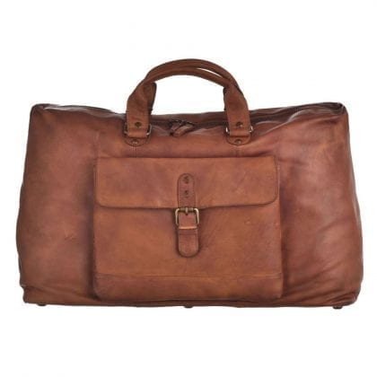 Extra Large Genuine Vintage Leather Weekend Bag