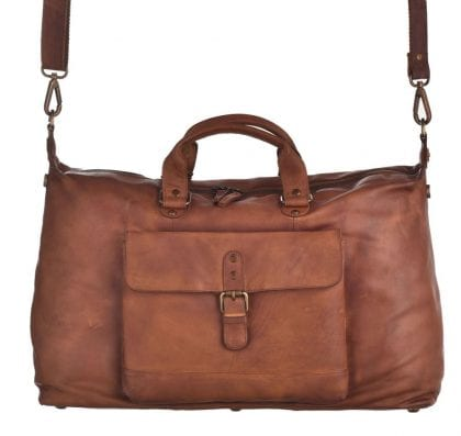 Extra Large Genuine Vintage Leather Weekend Bag - Hanging