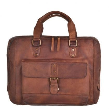 Laptop Compatible Genuine Vintage Leather Messenger Bag-0