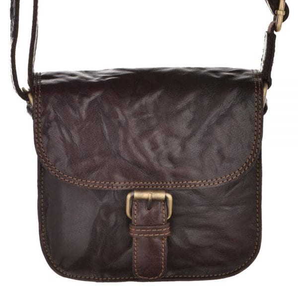 Ladies Small Vintage Leather Hunter Style Handbag by Rowallan in Brown - Front