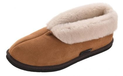 Ladies Full British Sheepskin Ankle Bootie Slipper with EVA Sole - Profile