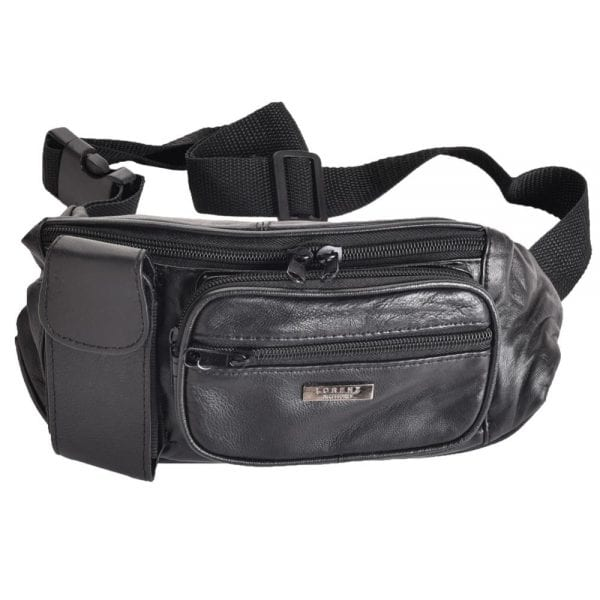 Lightweight Nappa Leather Waist Bag with Phone Pocket in Black