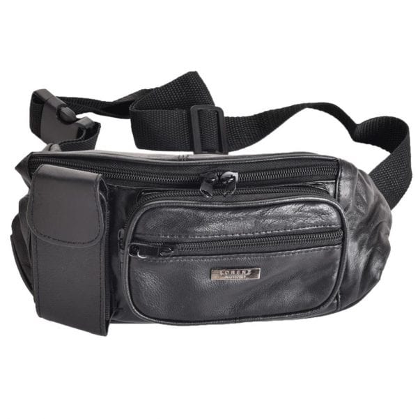 Lightweight Nappa Leather Waist Bag with Phone Pocket