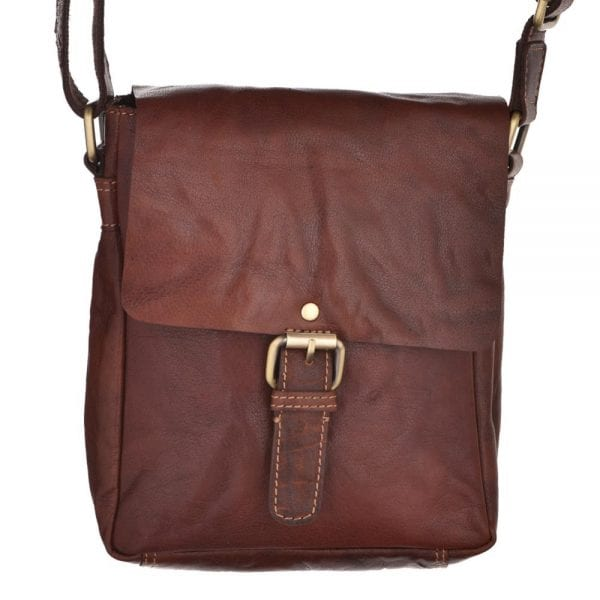 Unisex Small Vintage Style Leather Flap Over Bag by Rowallan - Main
