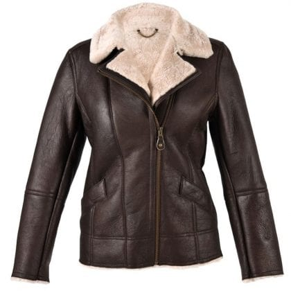 Ladies Aviator Finish Flying Jacket with Off Centre Zip