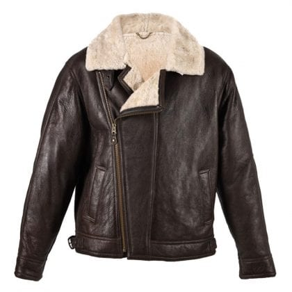 Mens Aviator Finished Sheepskin Flying Jacket with Off Centre Zip