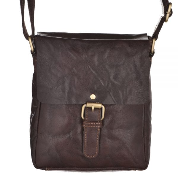 Unisex Small Vintage Style Leather Flap Over Bag by Rowallan in Brown - Front