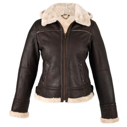 Ladies Genuine Leather and Sheepskin Aviator Jacket with Detachable Hood