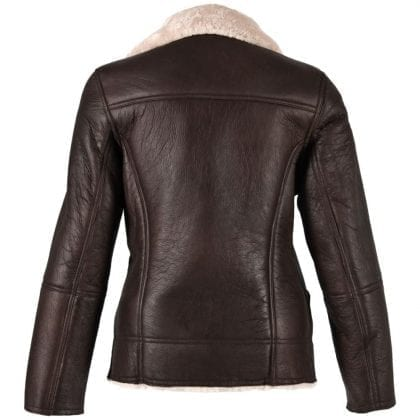 Ladies Aviator Finish Flying Jacket with Off Centre Zip - Back