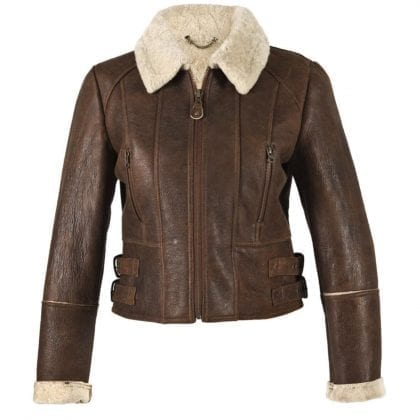 Ladies Aviator Finished Sheepskin Lined Cropped Jacket