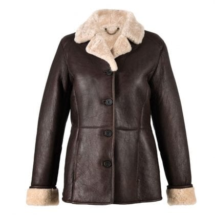 Ladies Long Aviator Finish Leather and Sheepskin Jacket