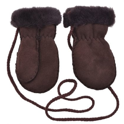 Genuine Sheepskin Lined Thumb Mittens with Keep Safe Cord