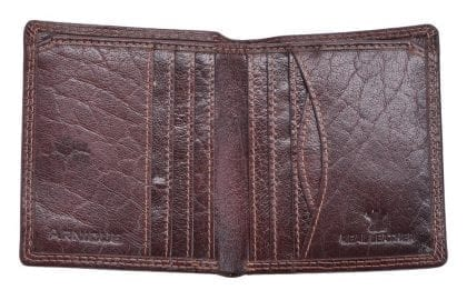 Arnicus Mens High Quality Grained Genuine Leather Slim Wallet - Open