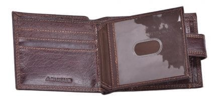 Arnicus Mens High Quality Genuine Grained Leather Flip Wallet - Open