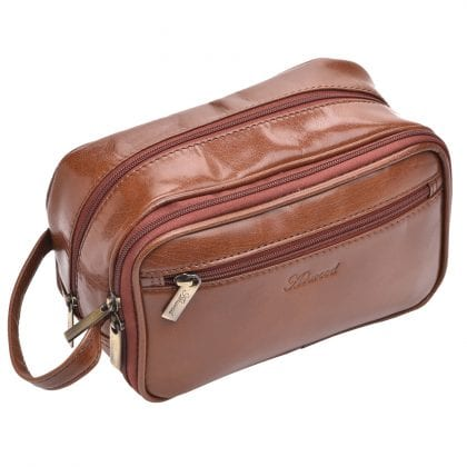 High Quality Genuine Buff Leather Wash - Shaving Bag by Ashwood