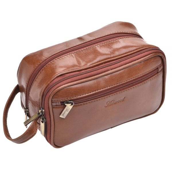 High Quality Genuine Buff Leather Wash - Shaving Bag by Ashwood