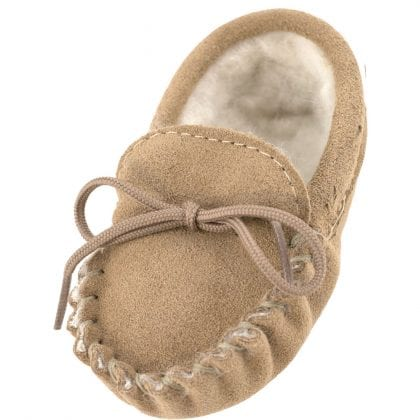 Genuine Suede and Lambswool Moccasins for Babies - Main