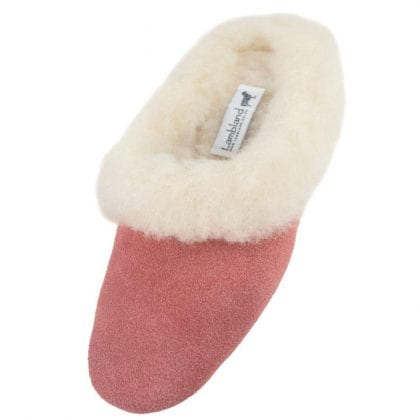 Ladies Suede and Lambswool Mule Slippers with Suede Sole-0