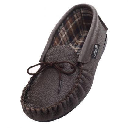 Ladies Fabric Lined Leather Moccasin Slippers-0