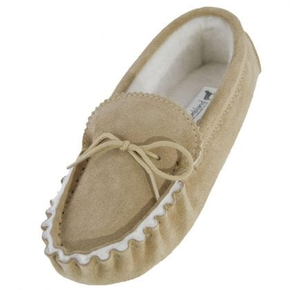 Ladies Genuine Sheepskin Lined Moccasin Slipper with Hard Wearing Sole-0