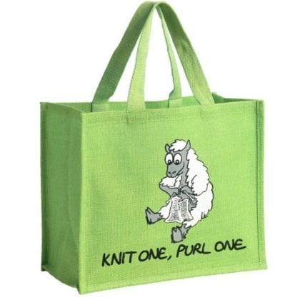 'Knit One, Purl One' Re-usable Jute Shopping Bag
