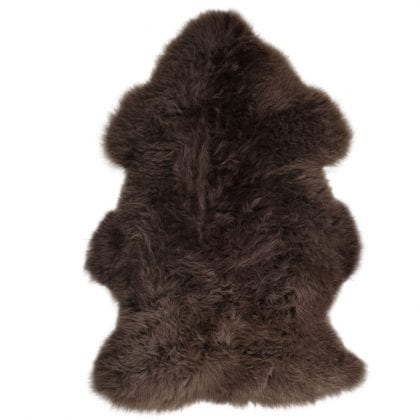 British Premium Quality Large Genuine Sheepskin Rug in Mink Brown - Front