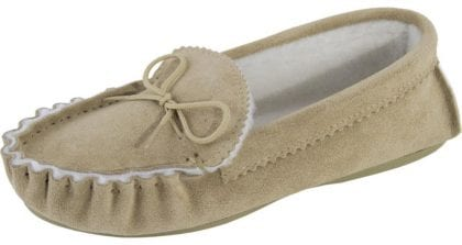 Ladies Genuine Sheepskin Lined Moccasin Slipper with Hard Wearing Sole-225037