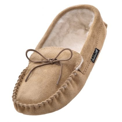 Ladies Suede Moccasin Slippers with Soft Suede Sole-0