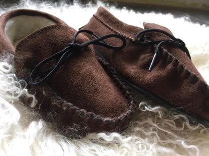 Ladies Genuine Suede Moccasin Slippers with Hard Wearing Sole-220902