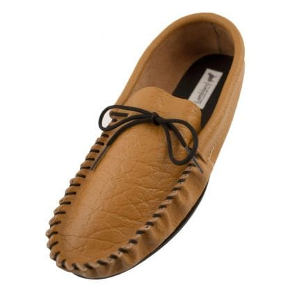 Mens Genuine Leather Lined Moccasin Slippers with PVC Sole-0