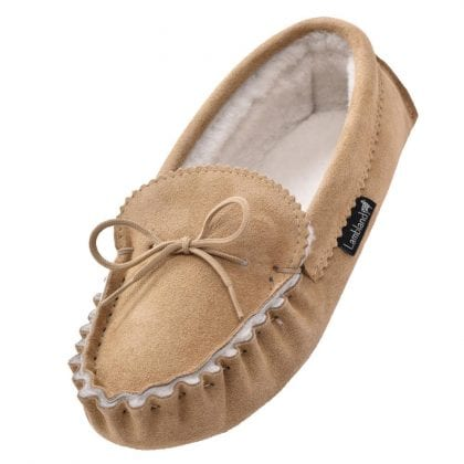 Ladies Genuine Sheepskin Lined Moccasin Slippers with Soft Suede Sole-0