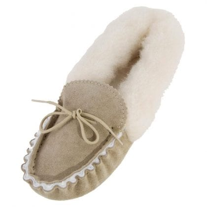 Ladies Genuine Sheepskin Lined Moccasin Slippers with Fluffy Collar and Soft Suede Sole-0