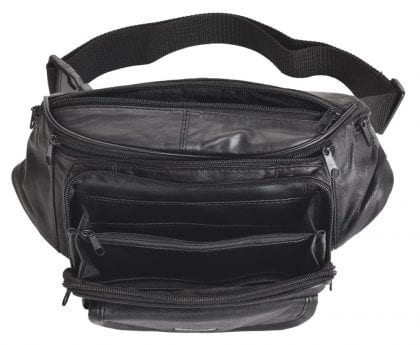 Genuine Leather Large Multi Zip Waist Bag Bumbag-230549