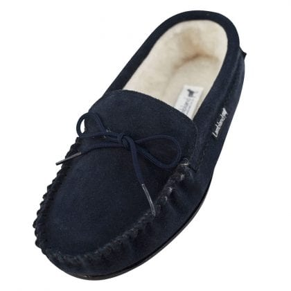 Ladies Genuine Suede Moccasin Slippers with Hard Wearing Sole-0