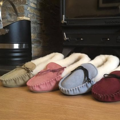 Ladies Genuine Suede and Lambswool Moccasin Slippers with Hard Wearing Sole-187500