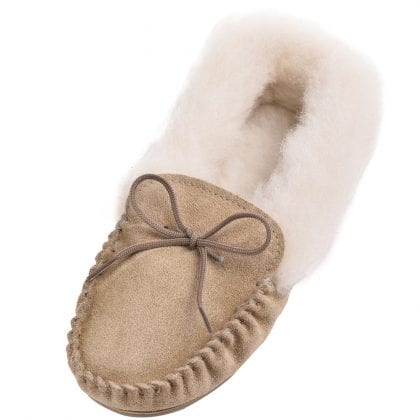 Ladies Genuine Suede and Lambswool Moccasin Slippers with Hard Wearing Sole-0