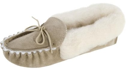 Ladies Genuine Sheepskin Lined Moccasin Slippers with Fluffy Collar and Soft Suede Sole-225076