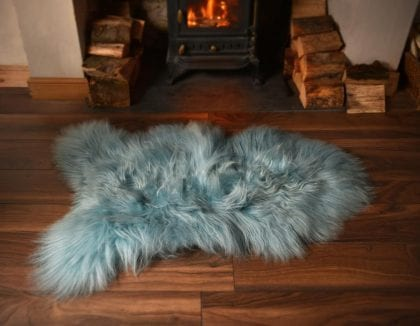 Long Wool Icelandic Aqua Sheepskin Rug - Lifestyle