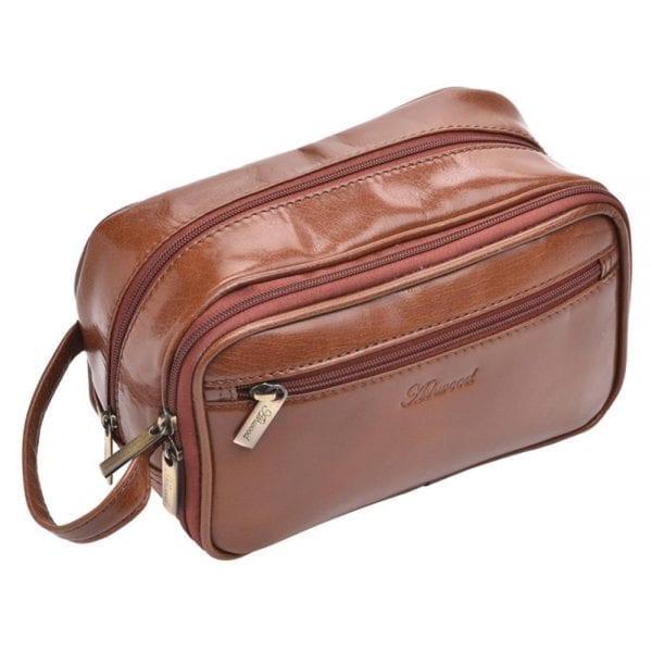 High Quality Genuine Buff Leather Wash - Shaving Bag by Ashwood in Chestnut