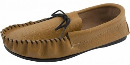 Mens Genuine Leather Lined Moccasin Slippers with PVC Sole-184764