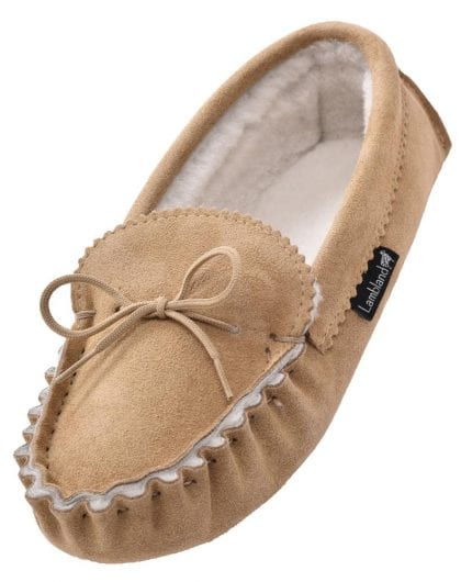 Ladies Genuine Sheepskin Lined Moccasin Slippers with Soft Suede Sole-225022