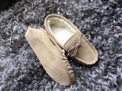Ladies Suede Moccasin Slippers with Soft Suede Sole-223625