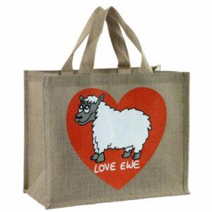 'Love Ewe' Re-usable Jute Shopping Bag-0