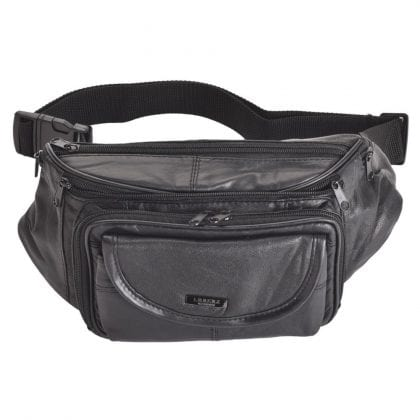 Genuine Leather Large Multi Zip Waist Bag Bumbag-0