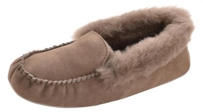 Ladies Genuine Sheepskin Moccasin Slippers with Suede Sole by Shepherd - Profile