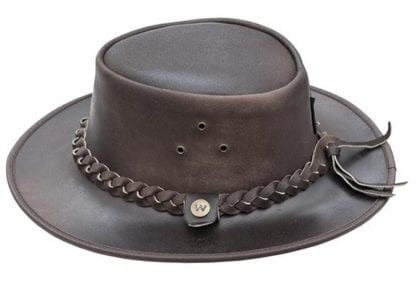 Wombat Leather Soft Leather Cowboy Hat - Outback - Back
